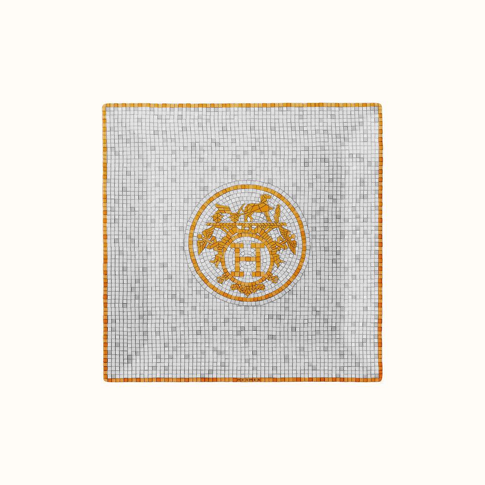 hermes mosaique oro piatto quadrato